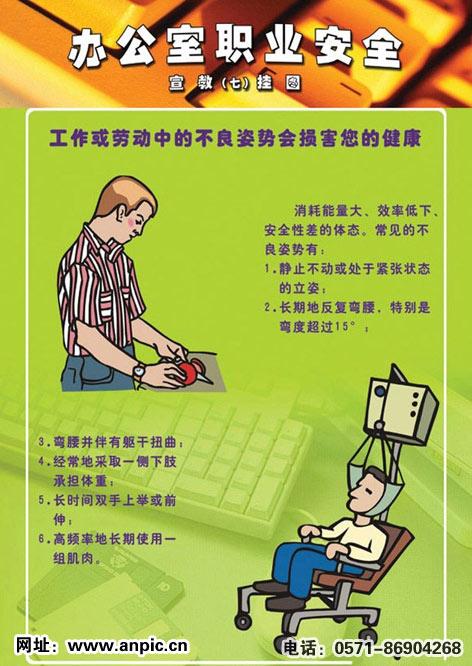 办公室职业安全健康宣传画-安全图网
